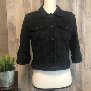 LOFT Black Vintage Style Cropped Denim Jacket